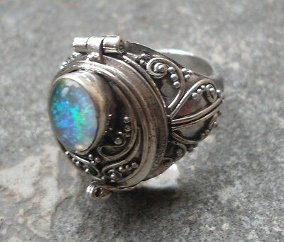 925 Sterling Silver-LL04-Bali Carved Poison/Wish Locket Ring & Opal Size 8