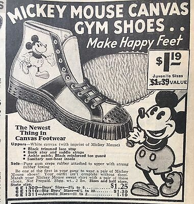 "Rare 1934 Walt Disney Mickey Mouse Canvas Gym Shoes Vintage Print Ad 4"" x 4.5"""