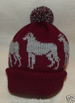 DEERHOUND /WOLFHOUND dog NEW Knitted Adult size MAROON beanie pompom bobble HAT