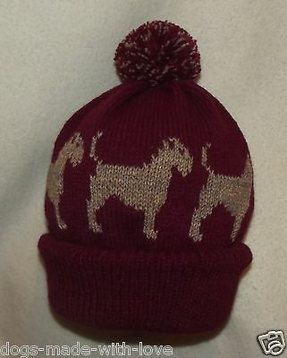 BORDER TERRIER dog NEW MAROON Knitted beanie pompom bobble ADULT size HAT