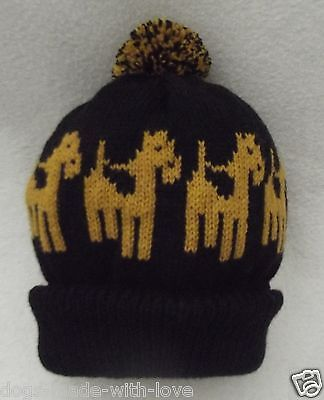 AIREDALE/WELSH TERRIER dog NEW Knitted beanie pompom bobble ADULT size HAT