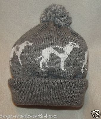 GREYHOUND / WHIPPET Knitted GREY & WHITE beanie pompom bobble ADULT size HAT