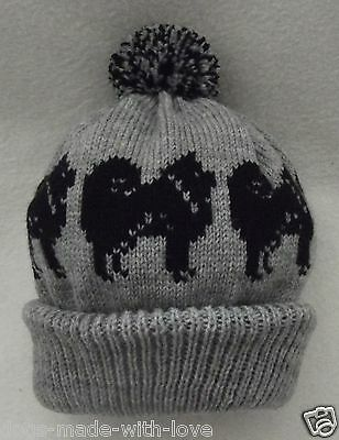 CHOW CHOW BLACK on NEW GREY Knitted beanie pompom bobble ADULT size