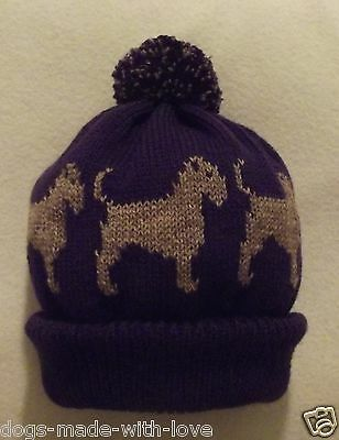 BORDER TERRIER dog NEW PURPLE Knitted beanie pompom bobble ADULT size HAT