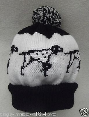 ENGLISH POINTER dog Knitted Adult size BLACK/WHITE beanie pompom bobble HAT
