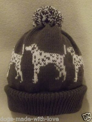DALMATIAN BROWN dog NEW Knitted Adult size beanie pompom bobble HAT