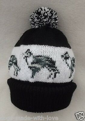 BORDER COLLIE BLUE MERLE dog NEW Knitted beanie pompom bobble Adult size HAT