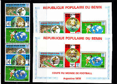 Soccer World Cup 1978 - BENIN - S/S+Set + S/S+Set red ovp MNH