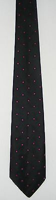 Vintage 80s Tie: Magenta Dots on Black. Dots Ringed in Deep Blue for Accent