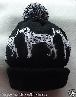 DALMATIAN BLACK dotty dog NEW Knitted Adult size beanie pompom bobble HAT
