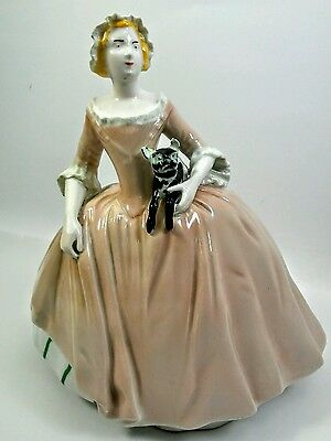 Antique German Porcelain FIGURINE Figure Lady Cat MEISSEN Dresden Crossed Swords