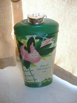 Vtg Art Deco Cheramy April Showers Talc Tin 7 oz Net Weight Feels Full Exc Cond