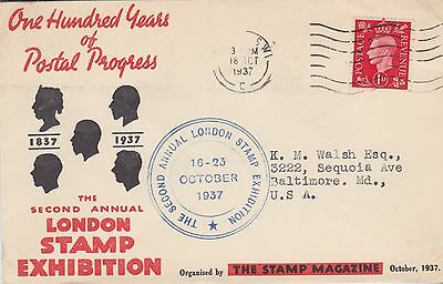 Gb Stamps Souvenir Cover 1937 London Stamp Exhibition Rares Collection