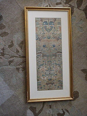 Vintage Chinese Silk Embroidery Textile Framed Under Glass Very Nice