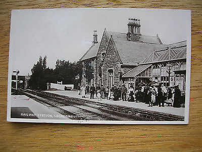 Cockermouth Railway Station, R/p Officials/crowd/signs+High St.
