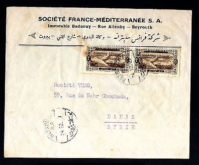 13557-LEBANON-OLD COVER BEYROUTH to DAMAS (syria).1927.Liban.enveloppe.brief.