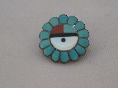 ESTATE Vintage Sterling Silver Turquoise Inlay Sun God Brooch Necklace  BE210