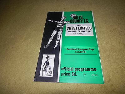 Notts County v Chesterfield - League Cup 1st round at Meadow Lane in 1965