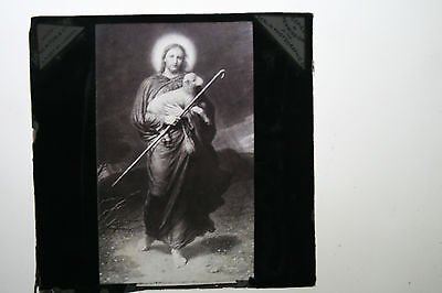 glass lantern slide ( the religious lamb )