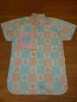 Vintage Rare One of a Kind Button Up CARE BEARS Shirt Pink Ladies L - XL