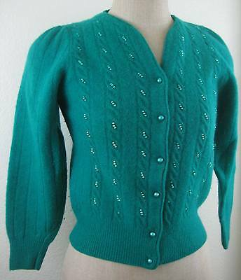 Vintage 1980s Angora Cardigan Sweater Size M Green Lambswool Pearl Buttons