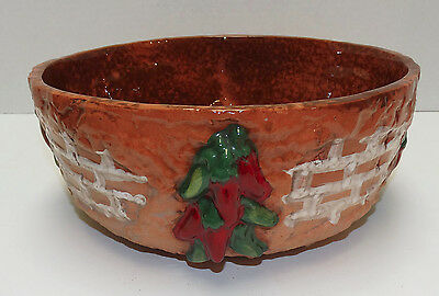 Milagro Art Pottery Serving Bowl Red Green Peppers Ojai Ca Southwestern