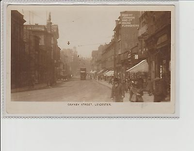 Leicester Granby Street Animated Scene Real Photograph Postcard U/P c1920/30s