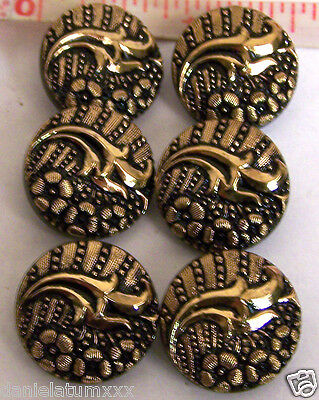 6 VINTAGE CZECH FLORAL BLACK glass BUTTONS - GOLD PAINTED