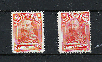 NEWFOUNDLAND 1897-16 X 2c BOTH COLOURS.  MINT