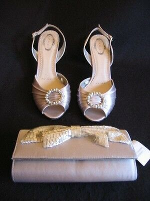 Ladies Winter Wedding Shoes Size 6 & Matching Clutch Bag Bnwt