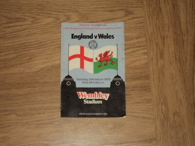 England v Wales Schools International Football Programme 24.3.79 @ Wembley