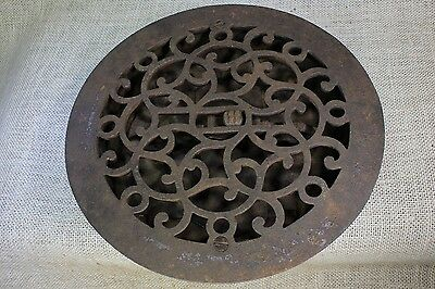 "Heat air grate register round with louvers 9 1/2"" old 1880's vintage rustic rust"