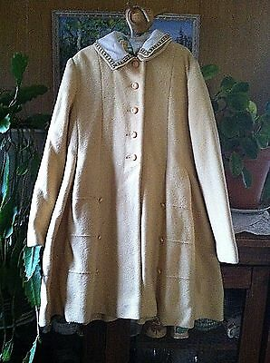 "Vintage 1930's ADORABLE long Childs Wool Embroidered COAT chest 30"" modern 2/3 ?"