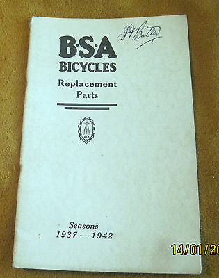 B.s.a. Bicycles  Replacement Parts   1937-42