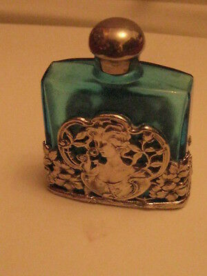 Art Noveau Mucha Sterling silver cased Glass teal Perfume Bottle.