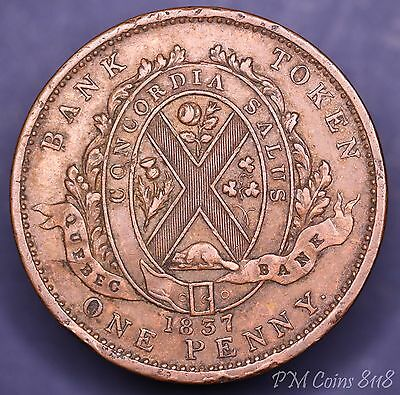 1837 Bank of Quebec One Penny Token Canada Canadian [8118]