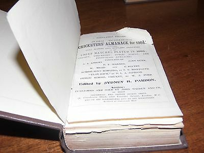 Wisden Cricketers' Almanack 1904 rebound paperbacked edition FAIR only condition