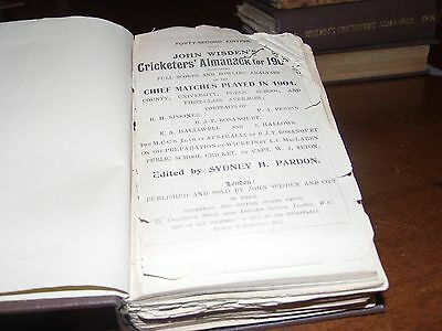 Wisden Cricketers' Almanack 1905 rebound paperbacked edition FAIR only condition