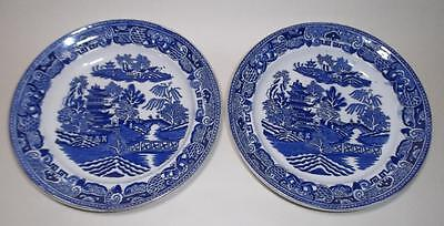 2 Vintage Bristol Willow Pattern Blue & White side Plates 7&1/2in - Lot C