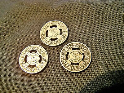 3 ~ Vintage Chicago Surface Lines Tokens Trolley Transit ~ Pre-Cta