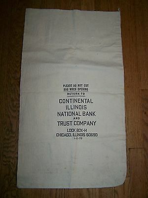 Oversize Canvas Deposit, Coin, Money Bag, Continental National Chicago Illinois