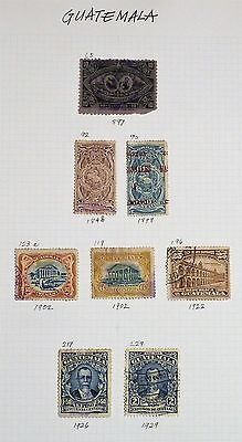 Guatemala - Page of 8 x F/used Classic Early Stamps.