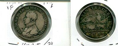 Germany  Prussia 1818 D Thaler Silver Coin Vf 4162J