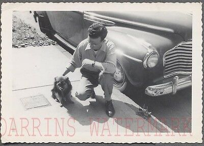 Vintage Car Photo Man & Pet Dog w/ 1941 Buick Automobile 734981
