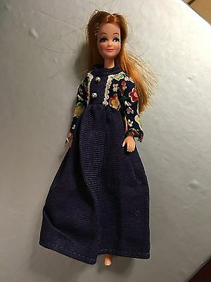 Vintage Pippa Red Head Tammie Doll In Navy & Floral Full Length Dress Excellent