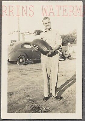 Vintage Photo Man w/ Big Unusual Watermelon & 1940 Ford Car 734999