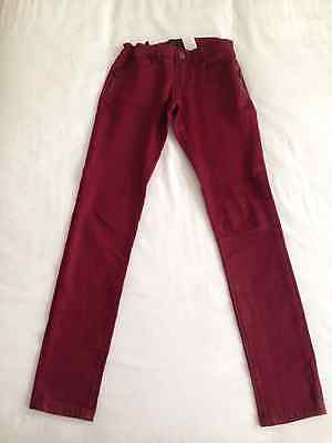 Girls IKKS Jeans / Trousers Skinny Fit - Age 12 Wine with silver shimmer