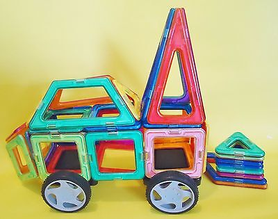 52 PC. Magnetic CAR Construction Building works with Magnetic Blocks tiles