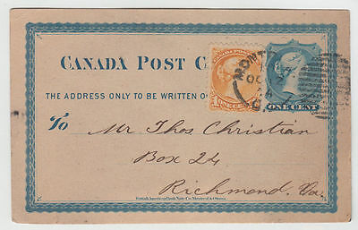 CANADA 1874 1c Small Queen on 1c Postcard Montreal to USA