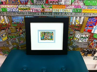 """James Rizzi 3-D """" Street Lunch """" Signed & Numbered 2002 Mini Framed"""